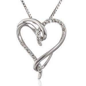 Jewelry - Sterling Silver White Diamond Heart Pendant